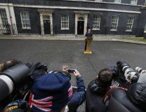 Britain's PMDavid Cameron delivers a statement in Downing St. in London on Feb. 20 (Tanjug/AP)