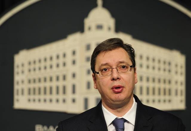 Vucic addresses his news conference in Belgrade on Friday (Tanjug)