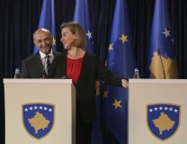 Mustafa and Mogherini in Pristina on Thursday (Tanjug)