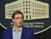 Vucic addresses reporters on Friday (Tanjug)