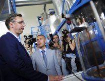 Vucic is seen in the town of Arandjelovac on Wednesday (Tanjug)
