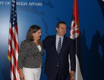 Nuland and Dacic are seen in Belgrade earlier in the week (Tanjug)