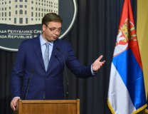 Vucic addresses reporters in Belgrade on Thursday (Tanjug)