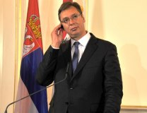 Vucic is seen in Vienna on Friday (Tanjug)