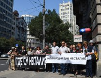 The families of the missing are seen in Belgrade on Tuesday (Tanjug)