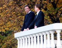 Vucic and Cerar are seen in Smederevo on Sunday (Tanjug)