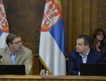 PM Vucic, his First Deputy and FM Dacic, during the government session on Thursday (Tanjug)