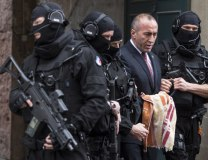 Haradinaj (2nd R) on Jan. 12 leaves the court escorted by police officers in Colmar, France (Tanjug/AP)