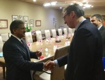 Anand Mahindra, Aleksandar Vucic are seen in Mumbai on Thursday (Tanjug)