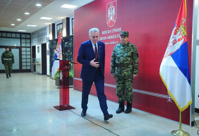 Nikolic is seen at the General Staff on Sunday (Tanjug)