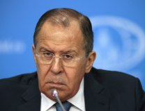 Lavrov is seen in Moscow on Tuesday (Tanjug/AP)
