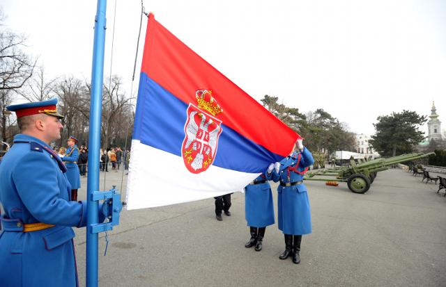 VS Guards take part in a Statehood Day ceremony in Belgrade on Tuesday (Tanjug)