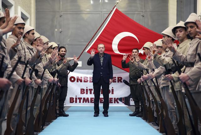 Young supporters in old military uniforms greet Turkey's President Recep Tayyip Erdogan in Istanbul (Tanjug/AP, file)