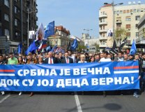 Seselj's supporters rally in Belgrade on March 27; the banner reads, 'Serbia is enternal as long as her children are faithful to her' (Tanjug)