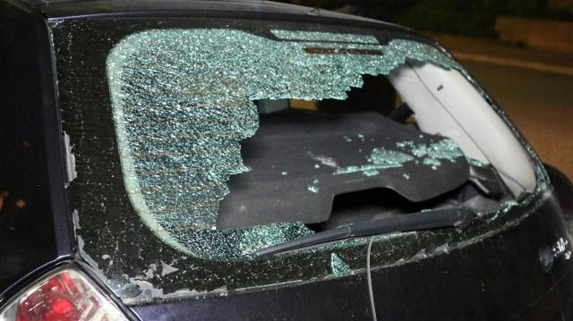 The car damaged during Monday's incident (Tanjug)