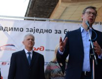 Vucic speaks in Leskovac on Tuesday (Tanjug)