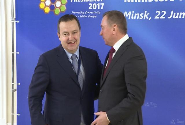 Dacic is seen with Belarus FM Vladimir Makei (Tanjug)