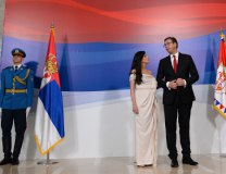 Vucic is seen with is wife Tamara (Tanjug)