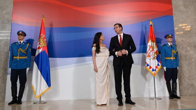 Vucic is seen with is wife Tamara (Tanjug)