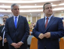 Dacic (R) is seen with Bolivian Vice President Alvaro Garcia Linera (Tanjug)
