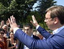 Vucic is seen in Vladicin Han on Friday (Tanjug)
