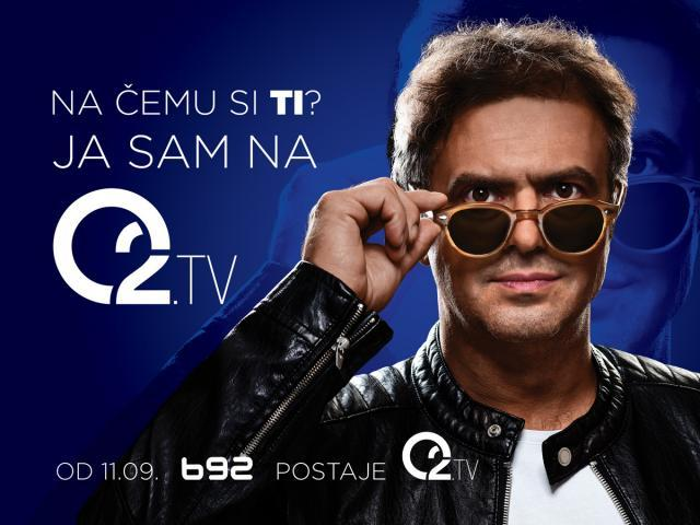 'What are YOU on? I'm on 02.TV. Starting Sept. 11, B92 becomes 02.TV' (Promo poster)