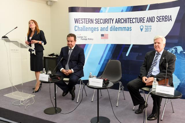 Dacic is seen with US Ambassador Scott during the conference on Wednesday (Tanjug)