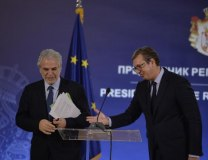Stylianides and Vucic are seen in Belgrade on Monday (Tanjug)