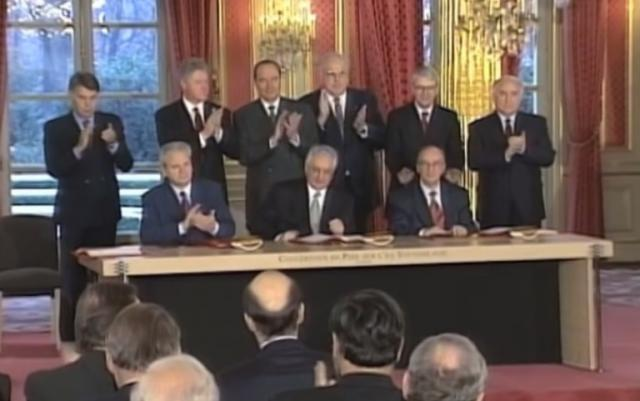 The signing of the Dayton Peace Accord (file)
