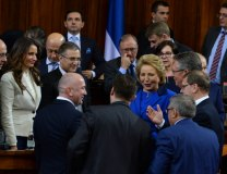 Matviyenko is greeted by Serbian officials in the National Assembly (Tanjug)