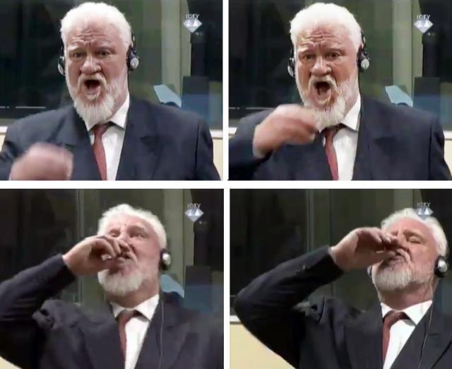 Slobodan Praljak is seen 'drinking poison' (EPA/ICTY)