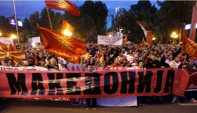 Protest in Skopje against name deal; president won't sign it - English