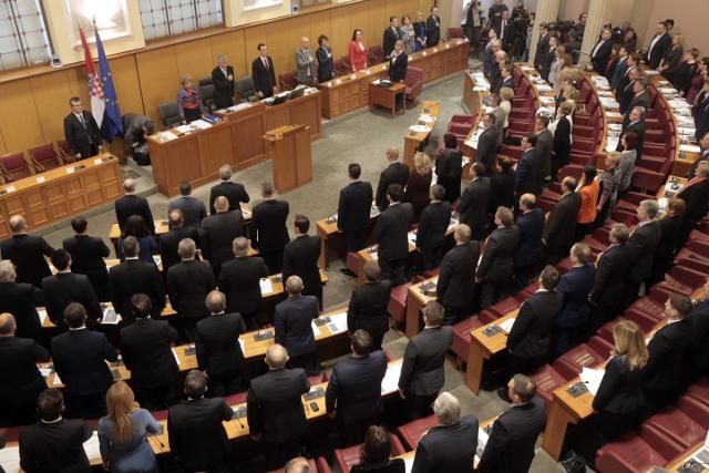 The Croatian assembly is seen last week before electing the new government (Tanjug/AP)