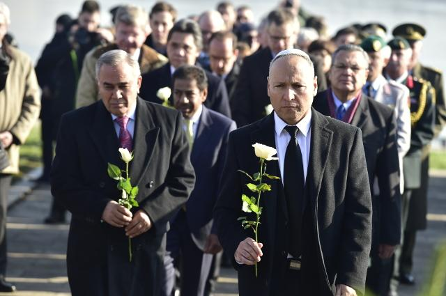 Levy (R) is seen during the central state commemoration in Belgrade on Wednesday (Tanjug)