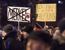An AfD demonstration in Erfurt on March 16. The banner, right, reads, 'Putin help us' (Tanjug/AP)