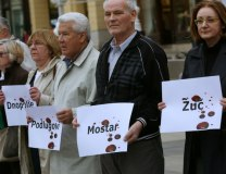 A protest is held in Zagreb, Croatia, after the verdict was announced in the Seselj trial (Tanjug/AP)