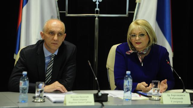 Tabakovic (R) is seen during a news conference in Belgrade on Tuesday (Tanjug)