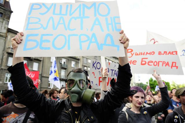 A protest in Belgrade on May 25 over the Savamala demolitions (Tanjug)