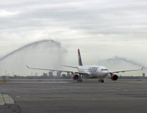 Air Serbia's plane is welcomed with water salute at New York JFK on Thursday (Tanjug)