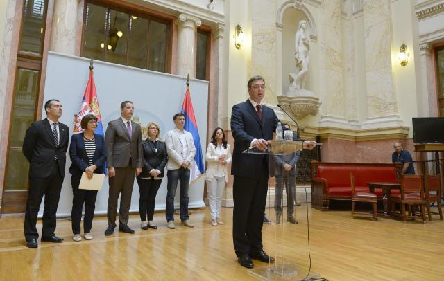 Vucic is seen in the Serbian Assembly on Monday (Tanjug)