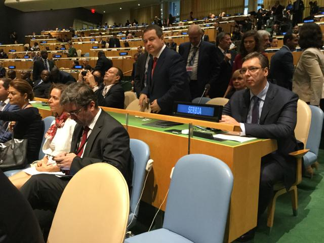 Vucic and Dacic are seen at the UN on Tuesday (Tanjug)