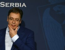 Vucic is seen during a news conference in Belgrade on Oct. 30 (Tanjug)