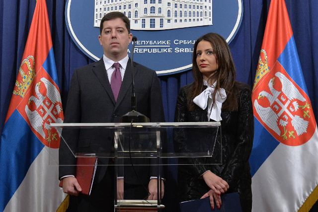 Marko Djuric and Nela Kuburovic address reporters on Friday (Tanjug)