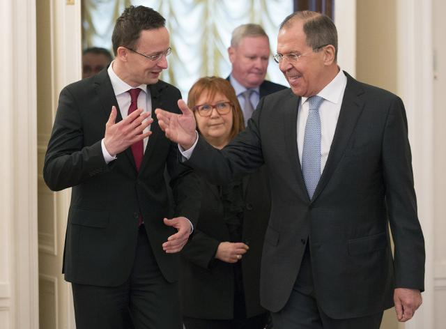 Peter Szijjarto and Sergei Lavrov in Moscow on Monday (Tajnug/AP)