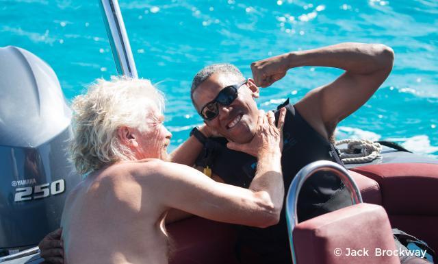Ričard Brenson i Barak Obama (Foto: Tanjug / Jack Brockway/Virgin.com via AP)