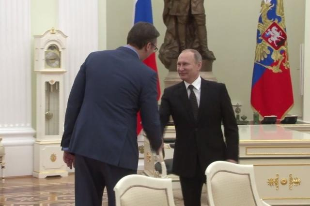 Vucic and Putin are seen in the Kremlin earlier in the week