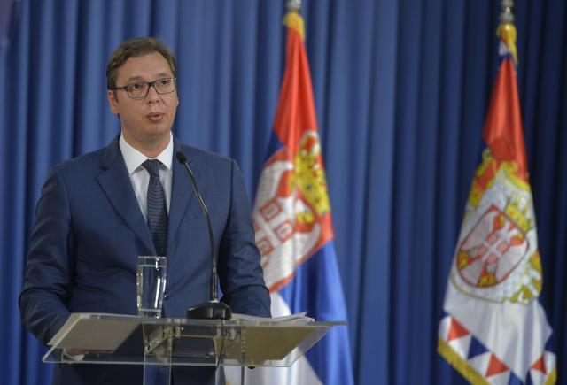 Vucic is seen during the news conference on Thursday (Tanjug)