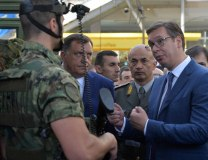 Vucic is seen at the fair on Tuesday in the company of RS President Milorad Dodik (Tanjug)