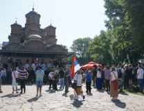 Participants arrive at Gracanica ahead of the ceremony on Wednesday (Tanjug)