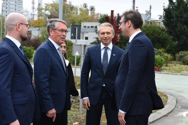 R-L: Vucic, Dyukov, Chepurin are seen in Pacevo on Monday (Tanjug)